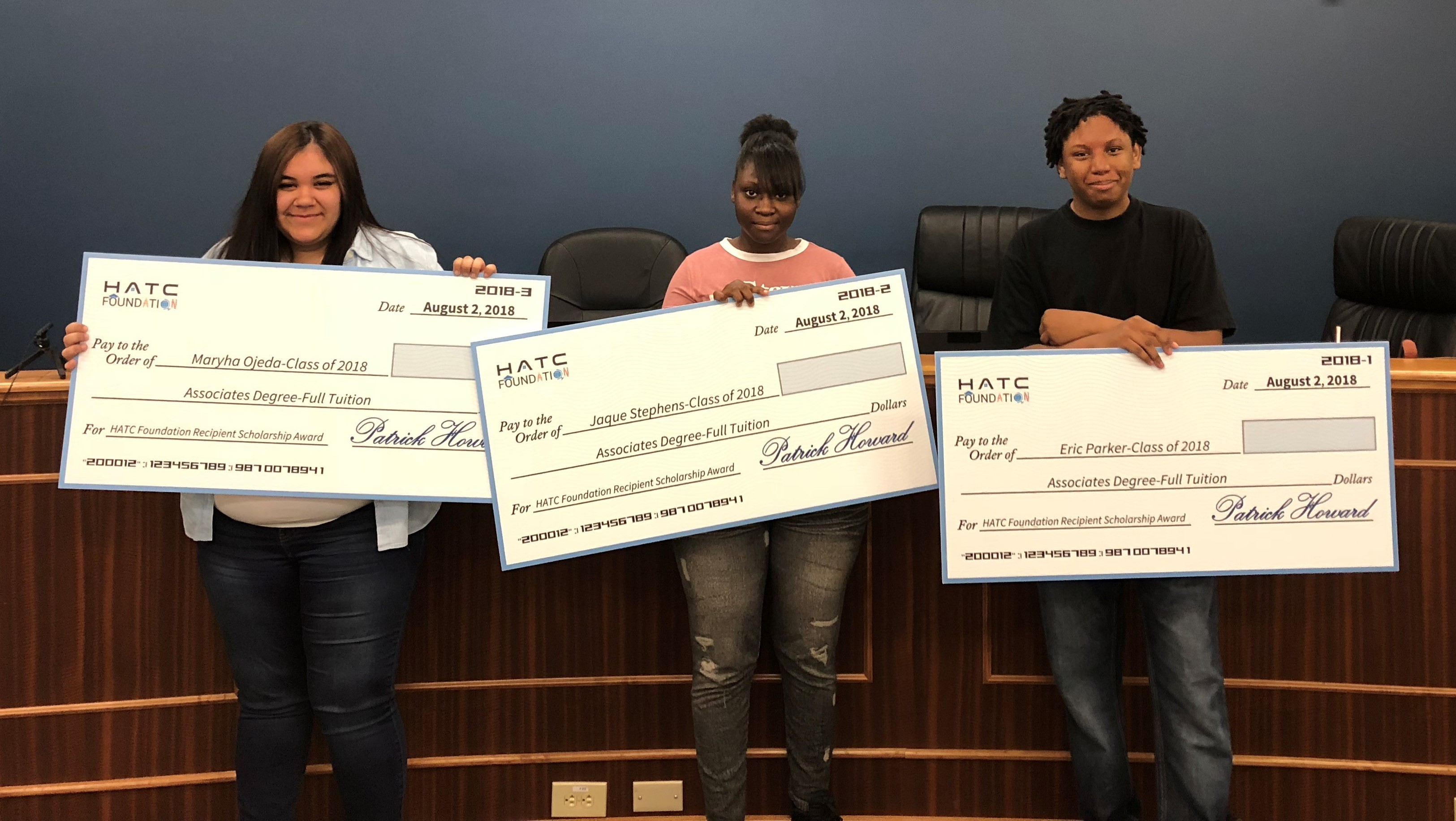 First Annual Resident Scholarship Program recipients (from left to right) Maryha Ojeda, Jaque Stephens,  and Eric Parker, Jr